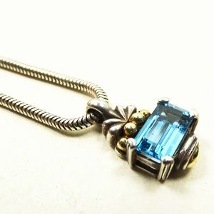LAGOS Sterling 18K Gold Swiss Blue Topaz Necklace